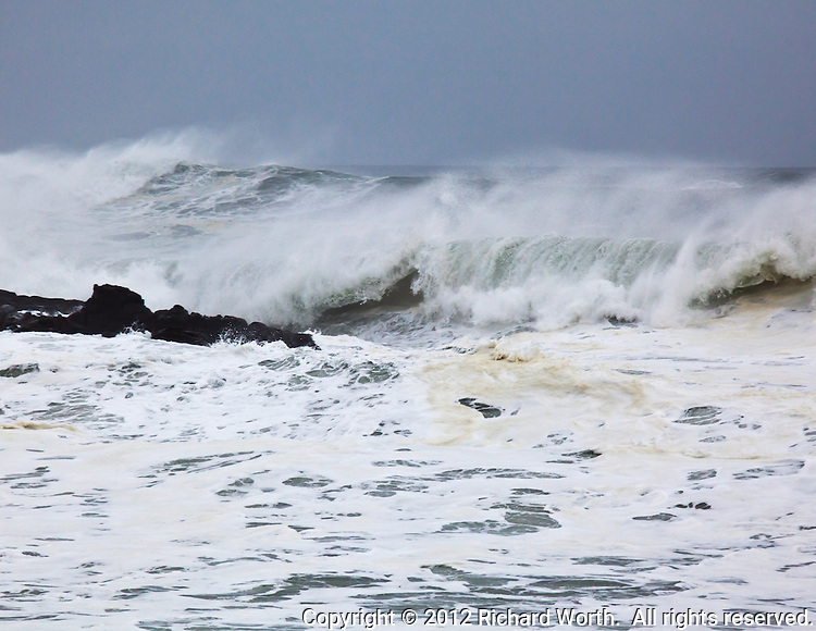 On cold January morning the Pacific ocean proves its power by hurling her waves at the rocky California coast.