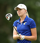 SIOUX FALLS, SD - SEPTEMBER 24:  Megan Mingo from South Dakota State University watches her tee shot on the eighteenth hole Tuesday morning at Minnehaha Country Club during the Jackrabbit Fall Invitational.  (Photo by Dave Eggen/Inertia)