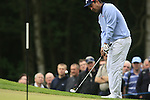 Shiv Kapur (IND) chips onto the 1st green during the Final Day of the BMW PGA Championship Championship at, Wentworth Club, Surrey, England, 29th May 2011. (Photo Eoin Clarke/Golffile 2011)