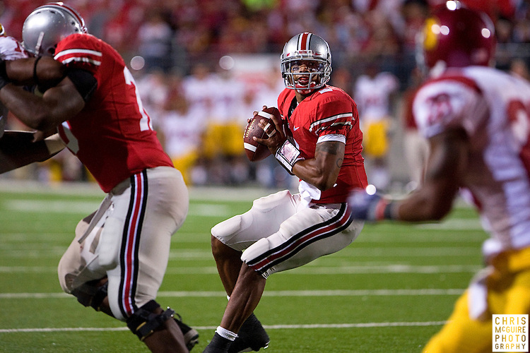 12 September 2009:  Football -- Ohio State quarterback Terrelle Pryor looks for a receiver during their game against USC at Ohio Stadium in Columbus.  USC won 18-15.  Photo by Christopher McGuire.