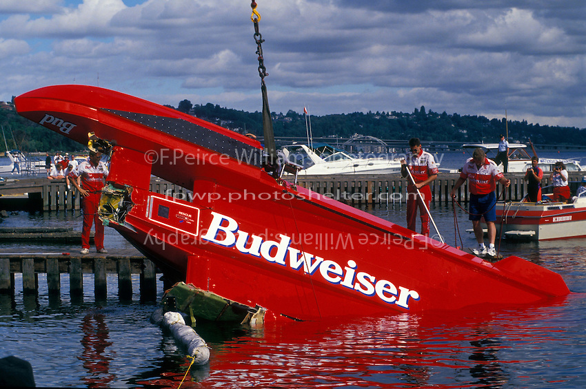 """U-1 """"Miss Budweiser T-3"""" is flipped back over."""