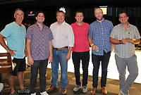NWA Democrat-Gazette/CARIN SCHOPPMEYER Jody Sims (from left), Joel Eikenberry, Donovan Angel, Trenton Moss, Craig Pierce and Kevin Clauson gather at the Las Faygas benefit for The C.A.R.E. Initiative on Aug. 16 at the Walton Arts Center.