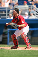 September 1 2008:  Catcher Charlie Cutler of the Batavia Muckdogs, Class-A affiliate of the St. Louis Cardinals, during a game at Dwyer Stadium in Batavia, NY.  Photo by:  Mike Janes/Four Seam Images