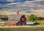 Park County, MT: Red barn 'Poplar Grove Ranch' in Paradise Valley in early fall