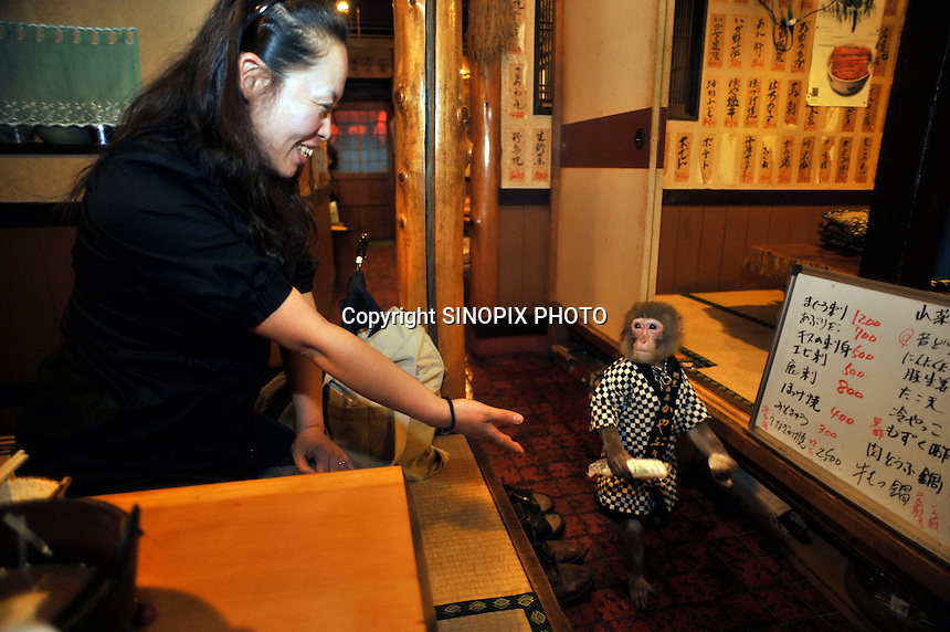 Kayabuki, the monkey bar, that has monkey waiters...Photo by Richard Jones / Sinopix.