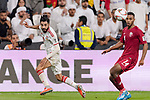Bandar Mohamed Al Ahbabi of United Arab Emirates (L) fights for the ball with Salem Al Hajri of Qatar (R) during the AFC Asian Cup UAE 2019 Semi Finals match between Qatar (QAT) and United Arab Emirates (UAE) at Mohammed Bin Zaied Stadium  on 29 January 2019 in Abu Dhabi, United Arab Emirates. Photo by Marcio Rodrigo Machado / Power Sport Images