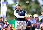 DES MOINES, IA - AUGUST 20: USA's Lizette Salas watches her tee shot on the first hole during her singles match Sunday morning at the 2017 Solheim Cup in Des Moines, IA. (Photo by Dave Eggen/Inertia)