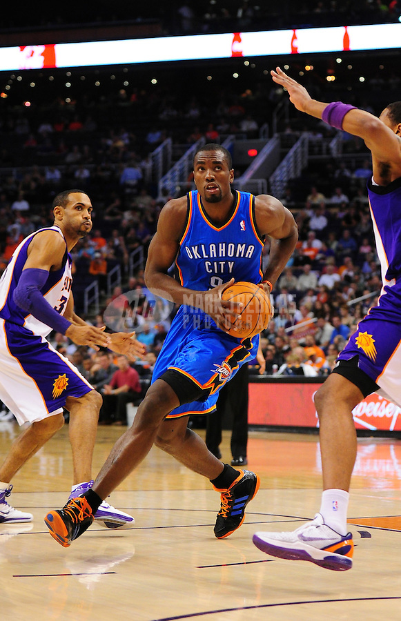 Mar. 30, 2011; Phoenix, AZ, USA; Oklahoma City Thunder forward (9) Serge Ibaka against the Phoenix Suns at the US Airways Center. Mandatory Credit: Mark J. Rebilas-