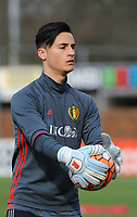 20170314 - UDEN , NETHERLANDS : Belgian Yarne Lenaerts  pictured during the UEFA Under 17 Elite round game between The Netherlands U17 and Belgium U17, on the first matchday in group 5 of the Uefa Under 17 elite round in The Netherlands , tuesday 14 th March 2017 . PHOTO SPORTPIX.BE | DIRK VUYLSTEKE