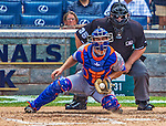 26 July 2013: New York Mets catcher Anthony Recker blocks an outside, in-the-dirt pitch during game action against the Washington Nationals at Nationals Park in Washington, DC. The Mets shut out the Nationals 11-0 in the first game of their day/night doubleheader. Mandatory Credit: Ed Wolfstein Photo *** RAW (NEF) Image File Available ***
