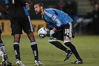 Colorado Rapids goalkeeper Matt Pickens (18) makes the save during the Colorado Rapids 2-1 victory over the San Jose Earthquakes at Buck Shaw Stadium in Santa Clara, California.