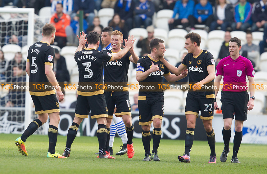 Goalscorer Eoin Doyle of Portsmouth celebrates with his team mates during Colchester United vs Portsmouth, Sky Bet EFL League 2 Football at the Weston Homes Community Stadium on 11th March 2017