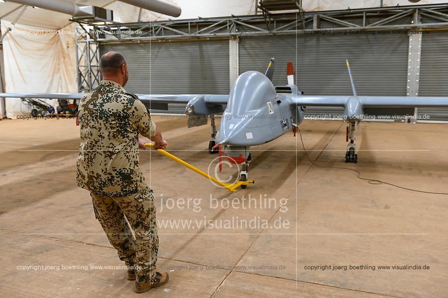 MALI, Gao, Minusma UN peace keeping mission, Camp Castor, german army Bundeswehr, hangar with reconnaissance drone Heron / Aufklärungsdrohne Heron
