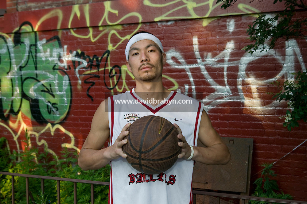 The Far East Ballers, a Japanese street basketball team, New York City, USA, June 19 2005.