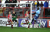 Adebayo Akinfenwa of Wycombe Wanderers heads towards goal <br /> during the Sky Bet League 2 match between Accrington Stanley and Wycombe Wanderers at the wham stadium, Accrington, England on 28 February 2017. Photo by Tony  KIPAX.