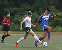 Boston Breakers forward Lianne Sanderson (10) dribbles as Sky Blue FC defender Madeleine Thompson (25) defends. In a National Women's Soccer League Elite (NWSL) match, Sky Blue FC (white) defeated the Boston Breakers (blue), 3-2, at Dilboy Stadium on June 16, 2013.