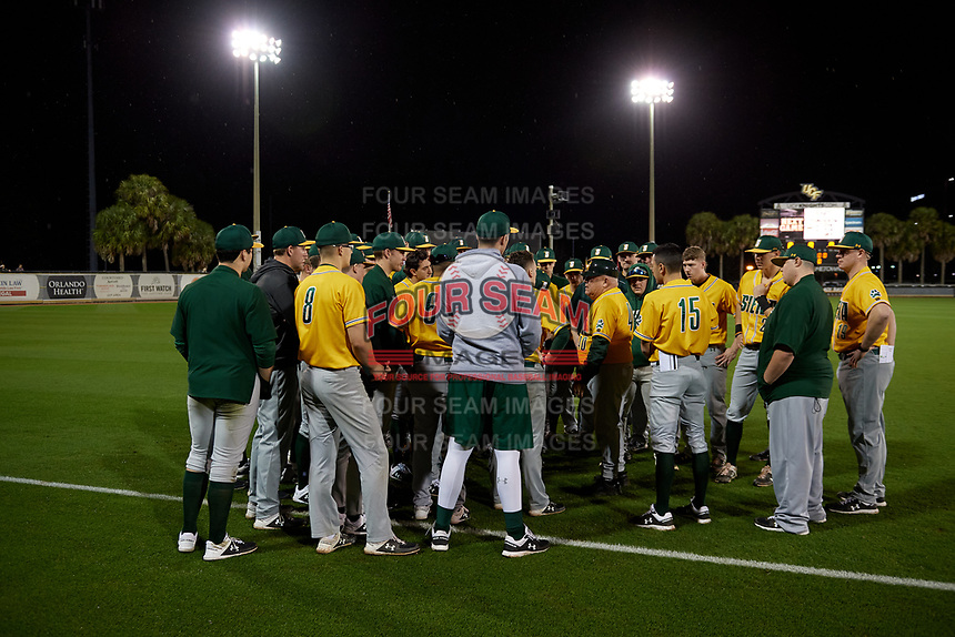 Siena Saints team meeting with manager Tony Rossi (40) after a game against the UCF Knights on February 14, 2020 at John Euliano Park in Orlando, Florida.  UCF defeated Siena 2-1.  (Mike Janes/Four Seam Images)