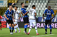 Stefan de Vrij of FC Internazionale (L) celebrates after scoring the goal of 1-1 during the Serie A football match between Parma and FC Internazionale at stadio Ennio Tardini in Parma ( Italy ), June 28th, 2020. Play resumes behind closed doors following the outbreak of the coronavirus disease. <br /> Photo Andrea Staccioli / Insidefoto