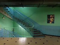 France, April 2013. Corridor in Maison d'arrêt de Douai (prison), opened in 1907, for 389 prisoners.