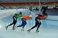 SPEEDSKATING: SOCHI: Adler Arena, 19-03-2013, Training, Sven Kramer (NED), Koen Verweij (NED), Konrad Niedzwiedzki (POL), © Martin de Jong