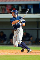 Coty Blanchard (6) of the Princeton Rays follows through on his swing against the Burlington Royals at Burlington Athletic Park on July 5, 2013 in Burlington, North Carolina.  The Royals defeated the Rays 5-1 in game one of a doubleheader.  (Brian Westerholt/Four Seam Images)