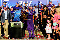 July 16, 2017 - Loudon, New Hampshire, U.S. - Denny Hamlin, Monster Energy NASCAR Cup Series driver of the FedEx Office Toyota (11), receives a lobster for winning the NASCAR Monster Energy Overton's 301 race held at the New Hampshire Motor Speedway in Loudon, New Hampshire. Larson placed first in the qualifier. Eric Canha/CSM