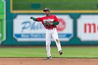 Fort Wayne TinCaps Xavier Edwards (9) throws to first base during a Midwest League game against the Fort Wayne TinCaps at Parkview Field on April 30, 2019 in Fort Wayne, Indiana. Kane County defeated Fort Wayne 7-4. (Zachary Lucy/Four Seam Images)