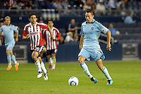 Sporting KC midfielder Davy Arnaud (22) heads towards the Chivas goal... Sporting Kansas City played Chivas Guadalajara to a 2-2 tie at LIVESTRONG Sporting Park, Kansas City, Kansas in an international friendly.
