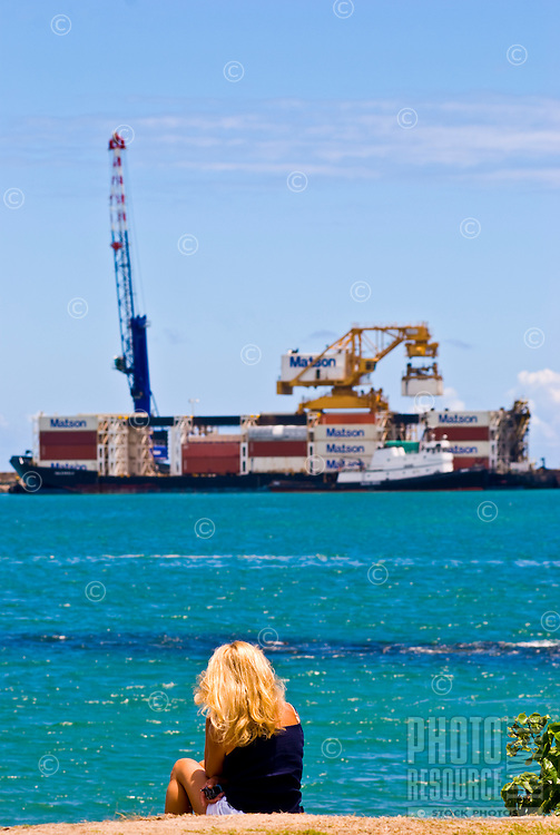 Matson commercial shipping barge delivers cargo at Kahului Harbor