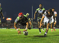 15/10/2016; European Rugby Champions Cup Round 1, Connacht vs Toulouse; Sportsground, Galway<br /> Connacht's Bundee Aki scores his side's third try.<br /> Photo Credit: actionshots.ie/Tommy Grealy