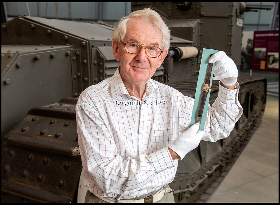 BNPS.co.uk (01202 558833)<br /> Pic: PhilYeomans/BNPS<br /> <br /> Jolyon Arnold(83) in front of a Whippet tank identical to his uncles.<br /> <br /> Moving and miraculous survivor from 100 years ago - fragile timepiece reveals a remarkable story of courage, death and unlikely friendship from the Western Front.<br /> <br /> An unlikely friendship between a British World War One tank commander and the German foe who saved his life has come to light 100 years after they first met on the battlefield.<br /> <br /> Lieutenant Clement Arnold, of the Tank Corps, had been in charge of a Whippet tank which ploughed through the German defences and wreaked havoc on their trenches at the Battle of Amiens on the 8/8/1918, before recieving a direct hit and catching fire, forcing the three man crew to bail out.<br /> <br /> The enraged German soldiers bayoneted to death the tank driver, Private W J Carnie, but before Lt Arnold suffered the same fate, German officer Ritter Ernst von Maravic stepped in and ordered that he and the tank's gunner were taken prisoner instead.<br /> <br /> As a gesture of gratitude, Lt Arnold gave von Maravic the prized  wristwatch given to him by his father, his most valuable possession.<br /> <br /> Amazingly the two foes then made contact and became friends in the 1930's when von Maravic returned the watch to Clement Arnold and even holidayed in Llandudno with the Arnold family. <br /> <br /> Yesterday Lt Arnold's nephew Jolyon(83) visited the Tank Museum museum in Dorset to retell the astonishing story.