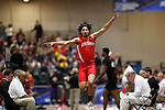 NAPERVILLE, IL - MARCH 11: Devlen Williams of Cortland State competes in the men's triple jump at the Division III Men's and Women's Indoor Track and Field Championship held at the Res/Rec Center on the North Central College campus on March 11, 2017 in Naperville, Illinois. (Photo by Steve Woltmann/NCAA Photos via Getty Images)