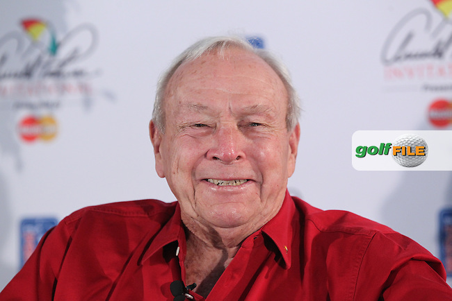 Legendary golfer Arnold Palmer smiles as he speaks  to the media during a pre-tournament press conference at the Arnold Palmer Invitational at Bay Hill Golf &amp; Lodge in Orlando, Florida USA.<br /> Picture: Peter Muhly / Golffile