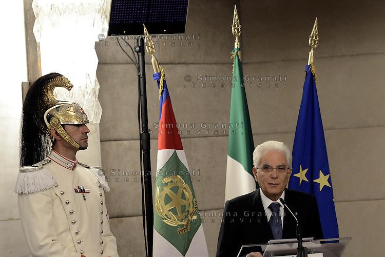 Roma, 27 Luglio 2015<br /> Il Presidente della Repubblica Sergio Mattarella.<br /> XI Conferenza degli Ambasciatori d'Italia presso il Ministero degli Esteri