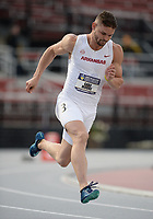 NWA Democrat-Gazette/ANDY SHUPE<br /> Arkansas' Gabe Moore competes Thursday, May 9, 2019, in the 400 meters portion of the decathlon during the SEC Outdoor Track and Field Championships at John McDonnell Field in Fayetteville. Visit nwadg.com/photos to see more photographs from the meet.