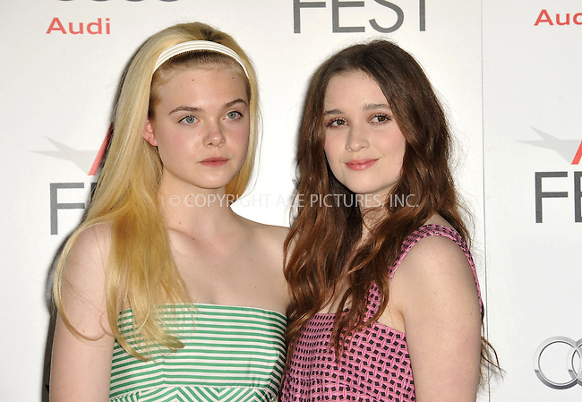 WWW.ACEPIXS.COM....November 7, 2012, Los Angeles, CA.......Elle Fanning, and Alice Englert arriving at the 'Ginger And Rosa' screening at AFI Fest 2012 at Grauman's Chinese Theatre on November 7, 2012 in Hollywood, California........By Line: Peter West/ACE Pictures....ACE Pictures, Inc..Tel: 646 769 0430..Email: info@acepixs.com