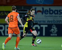 20140212 - ZWOLLE , THE NETHERLANDS : Belgian Maud Coutereels (r) pictured during the female soccer match between The Netherlands and Belgium , on the fifth matchday in group 5 of the UEFA qualifying round to the FIFA Women World Cup in Canada 2015 at Het Ijseldelta Stadion , Zwolle . Wednesday 12th February 2014 . PHOTO DAVID CATRY