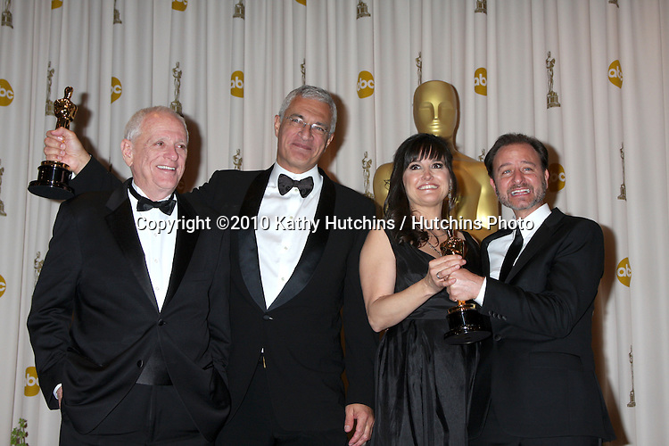 (L-R) Animal activist Ric O'Barry, director Louie Psihoyos, and producers Paula DuPre Pesmen and Fisher Stevens, winners Best Documentary Feature award for 'The Cove,'.in the Press Room of the 82nd Academy Awards.Kodak Theater.Los Angeles, CA.March 7, 2010.©2010 Kathy Hutchins / Hutchins Photo....