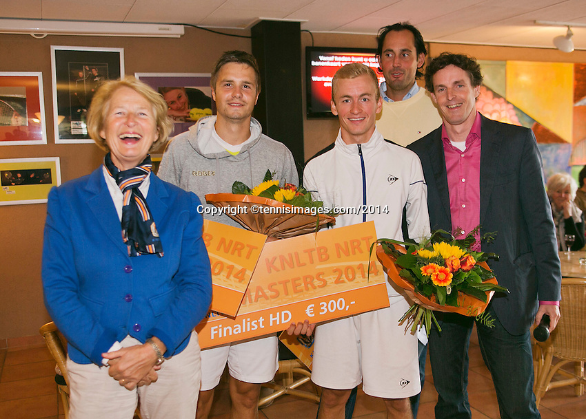 August 17, 2014, Netherlands, Raalte, TV Ramele, Tennis, National Championships, NRTK, Mens Doubles Final : Runners up Kevin Benning/Yannick Zenden with left Marja Bongers and right Floris Kilian and Guus van Berkel <br /> Photo: Tennisimages/Henk Koster