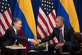 (L to R) President of Colombia Juan Manuel Santos shakes hands with United States President Barack Obama during a bilateral meeting at the Lotte New York Palace Hotel, September 21, 2016 in New York City. In Tuesday's speech to the United Nations General Assembly, Obama stated that 'helping Colombia end Latin America's longest war' was among his major accomplishments as president. Last month, the Colombian government reached a peace agreement with the Revolutionary Armed Forces of Colombia (FARC).<br /> Credit: Drew Angerer / Pool via CNP