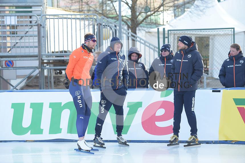 SPEED SKATING: COLLALBO: Arena Ritten, 10-01-2019, ISU European Speed Skating Championships, Thomas Krol (NED), Jac Orie (Trainer/Coach), Sicco Janmaat (Trainer/coach), ©photo Martin de Jong