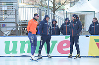 SPEED SKATING: COLLALBO: Arena Ritten, 10-01-2019, ISU European Speed Skating Championships, Thomas Krol (NED), Jac Orie (Trainer/Coach), Sicco Janmaat (Trainer/coach), ©photo Martin de Jong