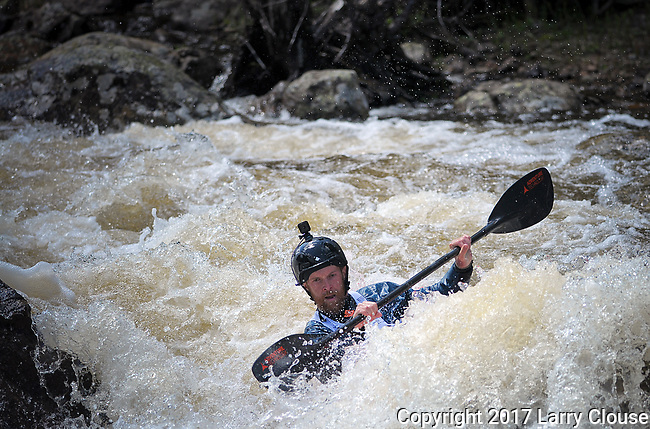 June 8, 2017 - Vail, Colorado, U.S. -  A Steep Creek paddler deep in the Goal Post Rapid on Homestake Creek's difficult course in the Steep Creek competition during the GoPro Mountain Games, Vail, Colorado.  Adventure athletes from around the world meet in Vail, Colorado, June 8-11, for America's largest celebration of mountain sports, music, and lifestyle.