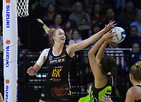 Kelly Jury leaps to block Aaliyah Dunn's shot during the ANZ Premiership netball match between Central Pulse and WBOP Magic at TSB Bank Arena in Wellington, New Zealand on Sunday, 21 April 2019. Photo: Dave Lintott / lintottphoto.co.nz