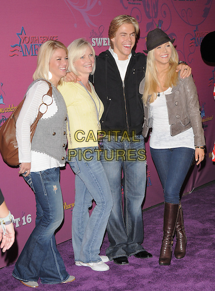 DEREK HOUGH, JULIANNE HOUGH & FAMILY.The Miley Cyrus Sweet 16 Birthday Celebration at Disneyland in Anaheim, California, USA..October 5th, 2008.full length jeans denim black jacket grey gray waistcoat boots brown hat.CAP/DVS.©Debbie VanStory/Capital Pictures.