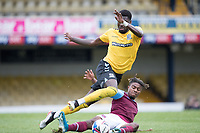Ossama Ashley, West Ham U21's tackles Richard Taylor, Southend United, during Southend United vs West Ham United Under-21, EFL Trophy Football at Roots Hall on 8th September 2020