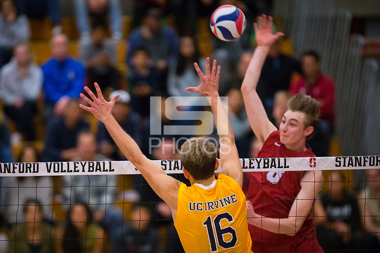 STANFORD, CA - March 10, 2018: Leo Henken at Burnham Pavilion. UC Irvine defeated the Stanford Cardinal, 3-0.