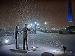 Snowy night photo of Orville & Wilbur Wright Statues at Deed Point, Dayton Ohio. Art print, and gifts available.