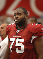 Aug 18, 2007; Glendale, AZ, USA; Arizona Cardinals tackle Levi Brown (75) against the Houston Texans at University of Phoenix Stadium. Mandatory Credit: Mark J. Rebilas-US PRESSWIRE Copyright © 2007 Mark J. Rebilas