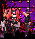 "Holly James, Jeigh Madjus and Jacqueline B. Arnold during the Broadway Opening Night performance Curtain Call bows for ""Moulin Rouge! The Musical"" at the Al Hirschfeld Theatre on July 25, 2019 in New York City."